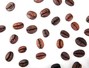 Fototapete - Coffee Beans Isolated On White Background