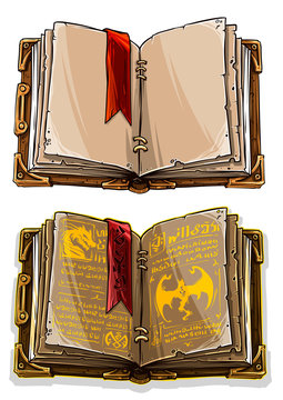 Cartoon colorful old open magic spell books with dragons, strange symbols and bookmark. Isolated on white background. Vector icon set.