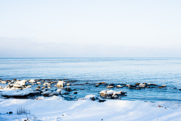 A view of the cold Baltic sea on a clear winter day, Latvia