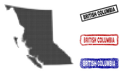 Halftone vector dot abstracted British Columbia Province map and isolated black, red, blue rubber-style stamp seals.