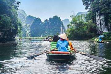 Trang An rowboats with beautiful mountains view, Ninh Binh, Vietnam