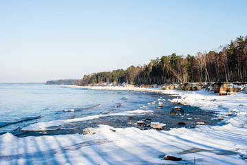 Winter landscape. Snow-covered seacoast and green trees against clear blue sky. Baltic sea, Latvia