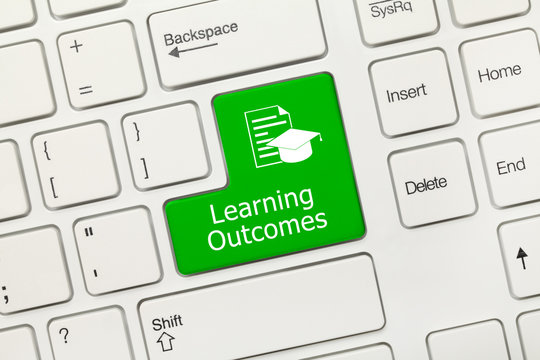 White conceptual keyboard - Learning Outcomes (green key)