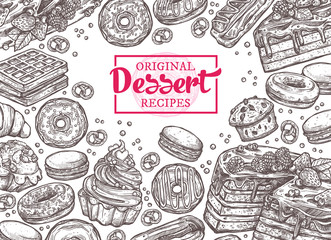 Monochrome vector background with desserts, sweets and bakery products in sketch style. Design with hand drawn cake, cupcake, donuts, macaroons, muffins, waffle, croissant