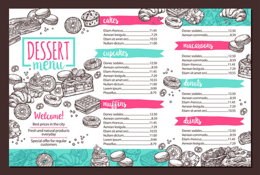 Vector design of dessert menu with hand drawn monochrome cake, cupcake, donuts, macaroons, muffins, waffle, croissant in sketch style. Trendy design on for café
