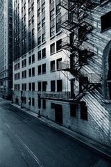 Black and white view of Chicago street