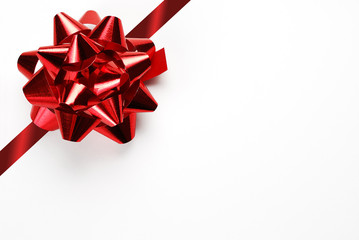 Blank Gift Card with Red Bow and Ribbon