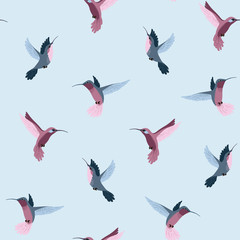 Seamless cute pattern with flying hummingbirds