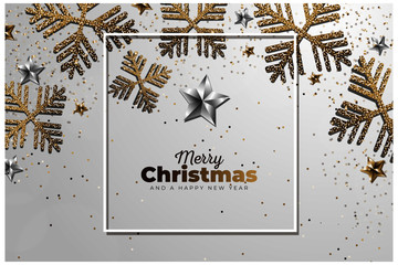 Beautiful Merry Christmas background with realistic decoration