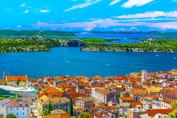 Sibenik Croatia travel places. / Aerial view at marble idyllic summer town Sibenik in Croatia, famous travel destination.