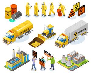 Toxic Waste Isometric Icons