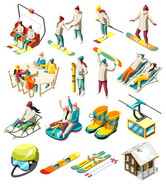 Ski Resort Isometric Icons