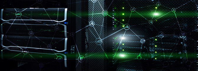 Telecommunication concept with abstract network structure and server room background.