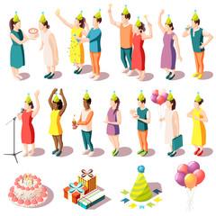 Birthday Party Isometric Icons Set
