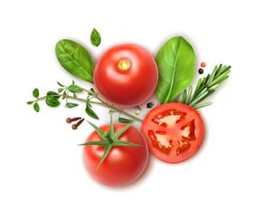 Tomato Herbs Realistic Composition