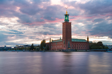 Fototapete - City Hall at sunset, Stockholm, Sweden