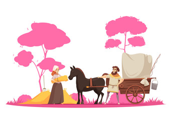 Ancient Rural Ground Transportation Illustration