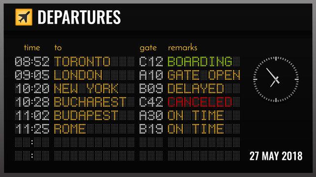 Airport Board Realistic Composition
