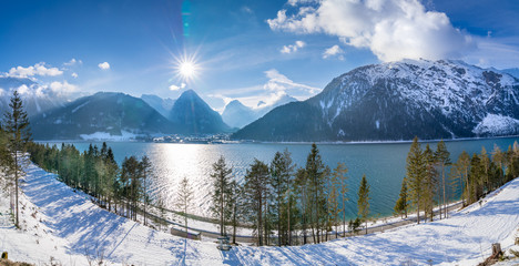 The lake Achen (German: Achensee) north of Jenbach in Tyrol, Austria. Together with the Achen Valley it parts the Karwendel mountain range in the west from the Brandenberg Alps in the east.