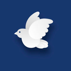 White dove on a blue background in the style of the paper.