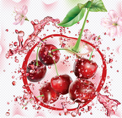 Wall Mural - Splashes of juice on the background of cherry silhouette