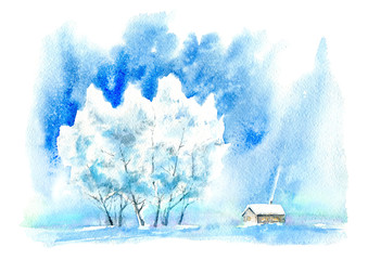 Landscape with village in winter.Snowy Birch tree with sun light.Watercolor hand drawn illustration.