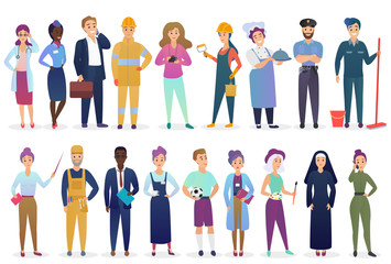 Professional workers people set standing together. Different occupation employment and teamwork vector illustration.