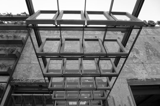 Architectural windows on a concrete building in San Diego, California