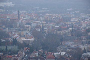 Teplice city viewed from Doubravka castle during snowfall on 15th december 2018
