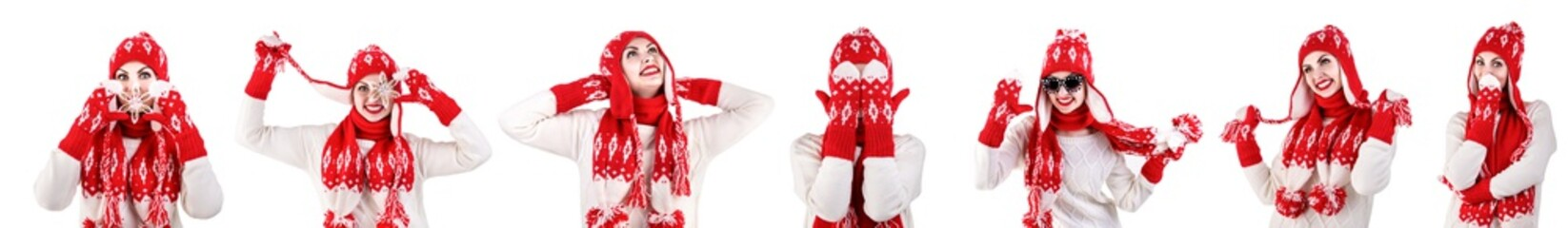 Girl in a knitted hat,scarf and mittens.Red with white pattern.Beautiful,warm,knitted and crocheted items.Collage