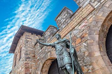 Statue of Antoninus Pius in front of the main gate of the Roman fort Saalburg near Frankfurt