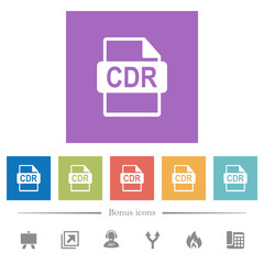 CDR file format flat white icons in square backgrounds
