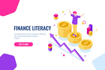 Financial literacy isometric, money accounting, economic illustration with woman who stand on podium, economics strategy. Flat color
