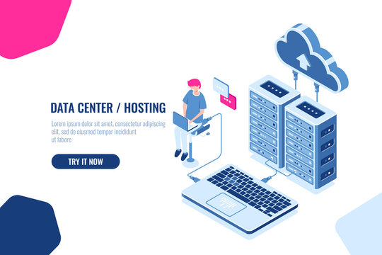 Data calculation and auditing isometric, engineer working with cloud storage, server room, datacenter and database icon. Flat color vector