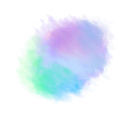 Colorful digital spot on isolated white. Colored aquarelle blotch. Hand drawn watercolour splotch. Paint and ink smudges. Bright blur stain. Trendy label brush stroke background