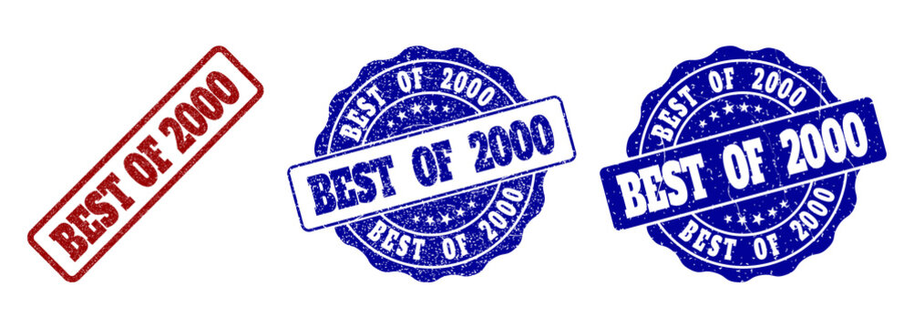 BEST OF 2000 grunge stamp seals in red and blue colors. Vector BEST OF 2000 watermarks with grunge effect. Graphic elements are rounded rectangles, rosettes, circles and text captions.