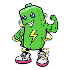 Battery Mascot shows the arm muscle to representing endurance and full charging condition Cartoon Vector