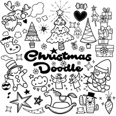 perfect set of Christmas design element in doodle style