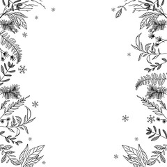 a floral frame black and white - Vector