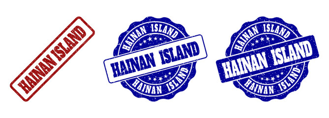 HAINAN ISLAND grunge stamp seals in red and blue colors. Vector HAINAN ISLAND marks with grunge texture. Graphic elements are rounded rectangles, rosettes, circles and text tags.