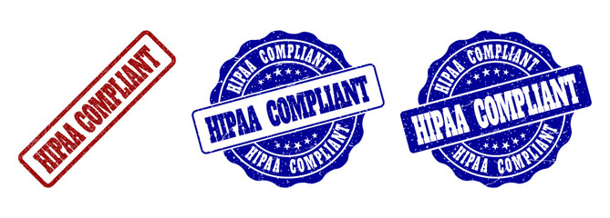 HIPAA COMPLIANT scratched stamp seals in red and blue colors. Vector HIPAA COMPLIANT labels with grainy surface. Graphic elements are rounded rectangles, rosettes, circles and text labels.