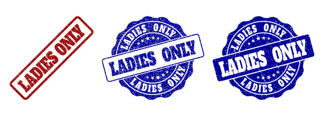 LADIES ONLY grunge stamp seals in red and blue colors. Vector LADIES ONLY imprints with grunge surface. Graphic elements are rounded rectangles, rosettes, circles and text titles. Wall mural