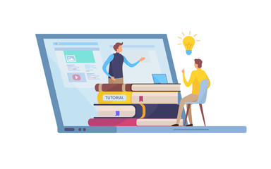 Online Education, Training course. Tutorials, e-learning, Smart knowledge. Cartoon miniature illustration vector graphic on white background.