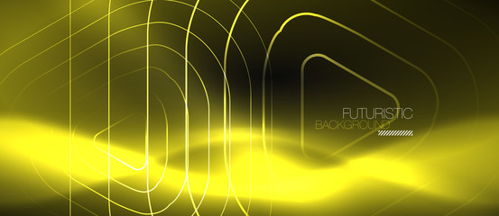 Dark black abstract background with neon colors and lines