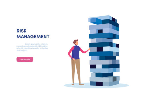 People gambling placing block stack. Business concept of Risk management.