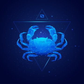 cancer horoscope sign in twelve zodiac with galaxy stars background, graphic of wireframe crab