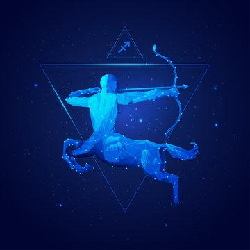 sagittarius horoscope sign in twelve zodiac with galaxy stars background, graphic of wireframe centaur