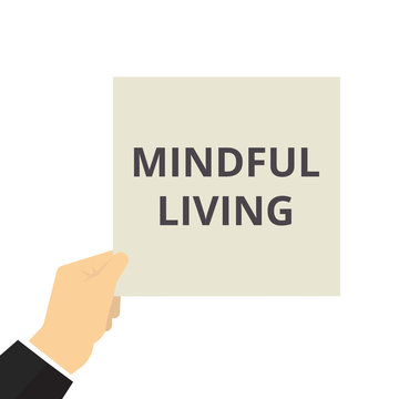 Writing note showing Mindful Living.
