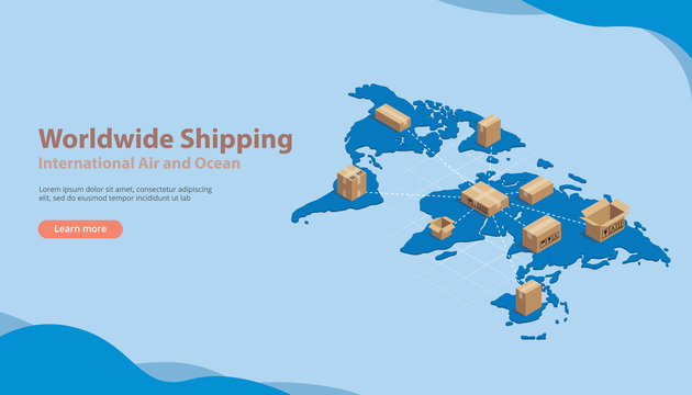 world wide international shipping business with free space for text for banner or website