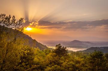 Sun setting over Dal Lake in Kashmir as seen from Sunset Point in Zabarwan Hills